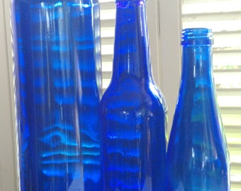 Vintage Set of Three (3) Cobalt Blue Glass Bottles, Center Piece for Wedding, recycled upcycled