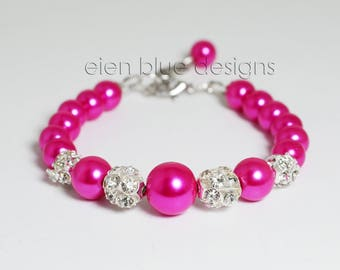 Hot Pink Pearl Bracelet, Hot Pink Pearl  and Rhinestone Bracelet Set,  Fuchsia Pearl Bracelet, Hot Pink & Rhinestone Bracelet and Earrings