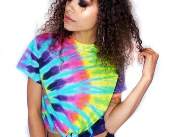 Tie Dye Tshirt Music Festival Tiedye Tee Music Festival Clothing Tumblr Crop Women's Tiedye Tshirt «« cd100flashback «« (crew, td tee).««