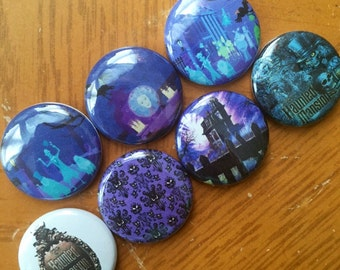 """Haunted Mansion Pin Buttons 1"""" set"""