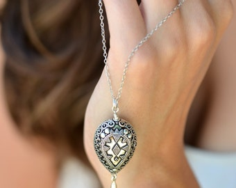 Bohemian Necklace Bali style Large Bali Teardrop 22 - 30 inches sterling silver long necklace