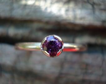SPINEL engagement ring, Pink purple spinel ring, pink spinel gold ring, purple spinel ring, spinel stacking ring, ExquisiteGem
