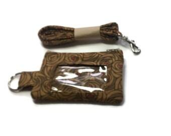 Lanyard  Wallet, Badge Wallet, Lanyard, Key Ring Brown Roses ID Wallet