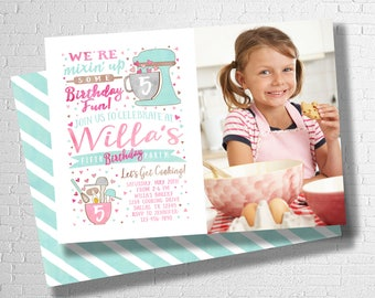 Baking Birthday Invitation | Cooking Birthday Invitation | Cupcake Birthday Invitation | Cupcake Decorating |  DIGITAL FILE ONLY
