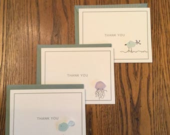 Seaglass Thank You  Notecards - Set of Three