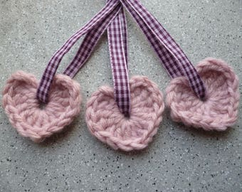 3 hearts crochet wool embellished with a pink and purple gingham eyelet