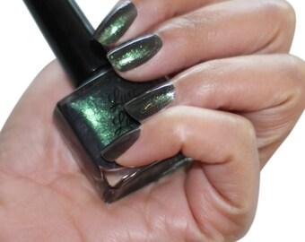 Kryptonite Dark Green Sparkly Nail Polish