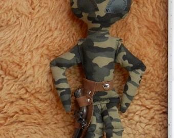 "ALIEN DOLL Green Camo  15.5 "" Tall W/Mini Pop Gun & Leather Belted Holster* Steam-Punk Style*"