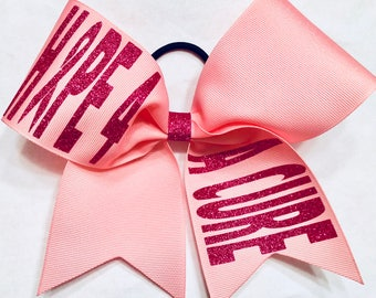 Hope 4 A Cure Across Cheer Bow Breast Cancer Awareness Pink Bow
