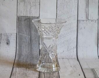 Vintage 1970s English Cut Glass Flower Vase