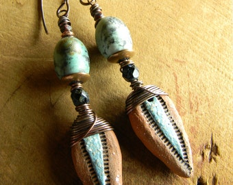 Tribal Jewelry Primitive Earrings African Turquoise Artisan Pale Blue Ceramic Drops