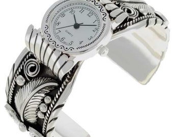 Ladies Silver Watch Bracelet Native American Cuff