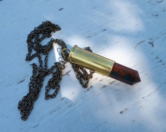 Bloodstone Bullet Casing Necklace