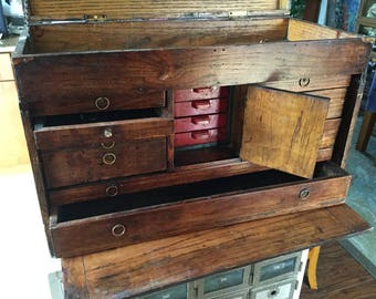 Large Antique Gerstner Oak Machinist Chest Great for Jewelry Display, Merchandising