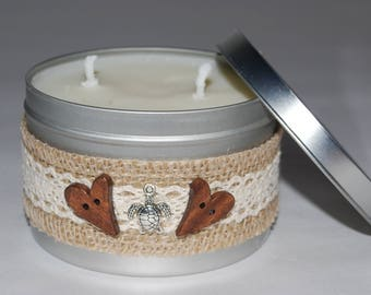 soy wax, hibiscus and sea breeze, handmade candle