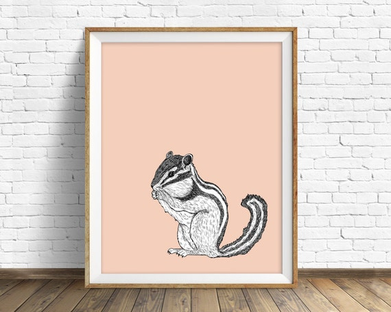 "chipmunk, chipmunk print, wall art, art print, large art, large wall art, nursery decor, nursery wall art, woodland nursery, art -""Chipmunk"""