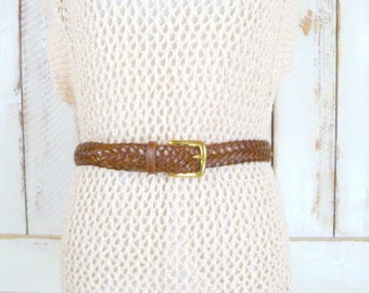 Dark brown woven leather vintage belt/braided leather boho hippie belt/small