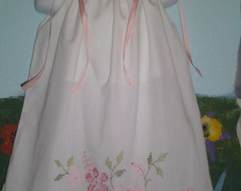 Authentic vintage hand embroidered pillowcase dress size18-24 months