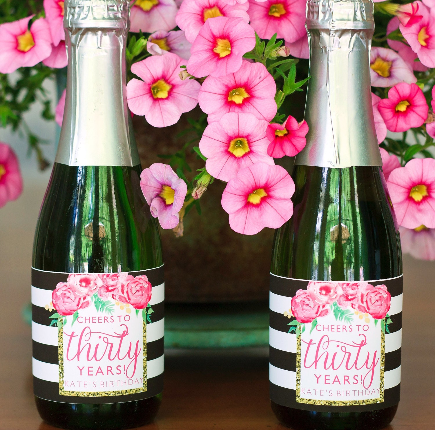 Floral Birthday Mini Champagne Bottle Labels. Pink Birthday
