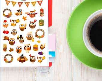 Autumn Owls Planner Stickers | Fall Stickers | Thanksgiving Stickers | Autumn Stickers | Owl Stickers | Candle Stickers (S-167)