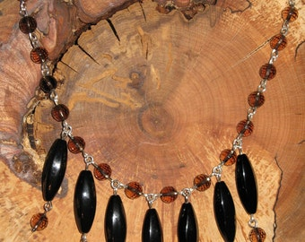 Night At The Opera - smoky quartz and black onyx sterling silver necklace