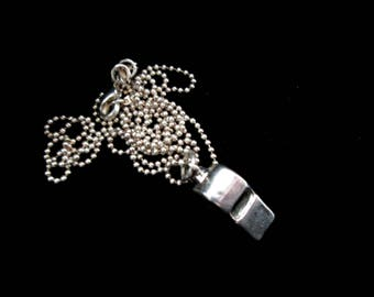 Vintage Sterling Silver Teensy Tiny Whistle Necklace
