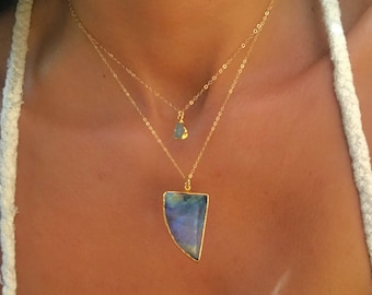 Labradorite Necklace // Labradorite  Gold Necklace // Blue Labradorite Necklace //
