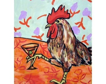 chicken art - Chicken at the Martini Bar Art Print - chicken gifts