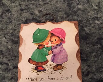 Vintage Paula Cutes Friends Wall Plaque