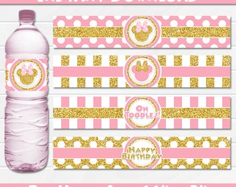 Minnie Mouse Pink and Gold Water Bottle Labels, Instant Download, pdf jpg