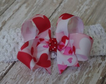 Boutique Camo Hearts Infant/Toddler Headband Valentines Day Hair Bow Bowband