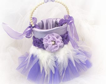 Purple Flower Girl Basket Tutu and Feather Basket Lilac Wedding Girl Basket Pearl Handle Basket  Elegant Basket Ready To Ship
