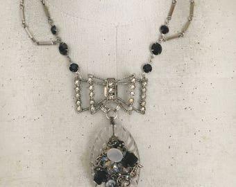 Antique Bow Shoe Clip Necklace, Vintage Assemblage Necklace, Evening Jewelry
