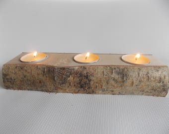 Wooden Candle holder for three candles, natural birch