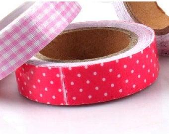 adhesive fabric sticker, pink polka dot white