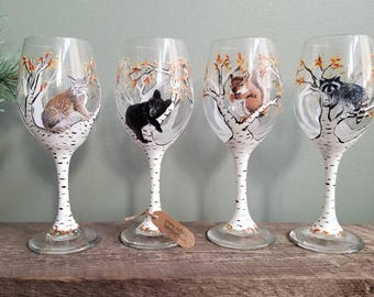 4 Painted Wine Glasses (made to order)