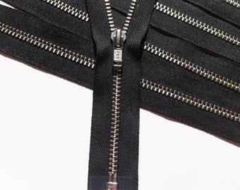 SEPARATING Metal Zippers- 12 inch ykk nickel teeth zips- (5) pieces - Black 580