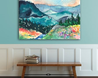 Watercolor Landscape Painting - Valley of Dreams Mountain Wildflowers Landscape Scenic Art Print