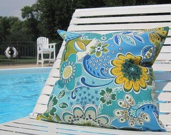 "Outdoor Pillows, Decorative Pillows, Blue Outdoor pillows, Patio Pillows, Outside Floral Pillows, 20"" x 20"" Throw Pillow,Pool Pillows"