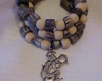MANGROVE CORAL~CERAMIC Beads~Wrap Bracelet~Monkey with Cocoanut Silver-tone Charm~Tribal~Ethnic~African~Statement~Safari Wrap Bracelet