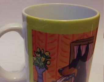 Doberman Pinscher at the Coffee shop 11 oz mug cup gift dog art artwork