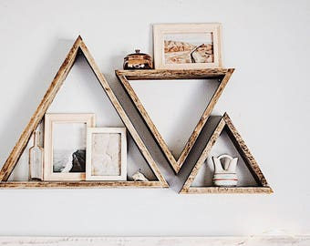 3 Triangle Shelves/ Reclaimed Wood/ Reclaimed Wood Shelf/ Pallet Wood Shelf/ Geometric wall art/ Pallet Wood Art/ Pallet Art/ Wall Art