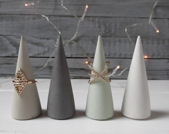 Concrete ring cone, cement ring cone, ring holder, concrete cone, ring cone, wedding favor, concrete decor, party favor, hostess gift, beton