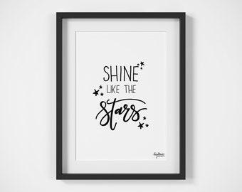 Shine Like the Stars | Kids Room | Nursery Art | Handlettered | Typography | Digital Download | Printable Art | Stars