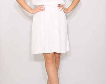 SALE Short white dress Chiffon dress Wedding dress Keyhole dress