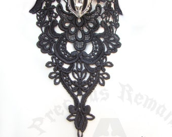 """Gothic Black Lace Necklace """"My Lost Lenore"""" Elegant Raven Skull Choker Black Lace Choker ~ Goth Necklace for Black Wedding Dress or Formal"""