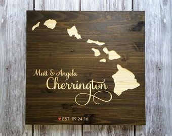 Hawaii Wedding Guest Book Alternative. State Guest Book. Wood Guest Book. Custom State Sign. Personalized State Sign. Beautifully Engraved.