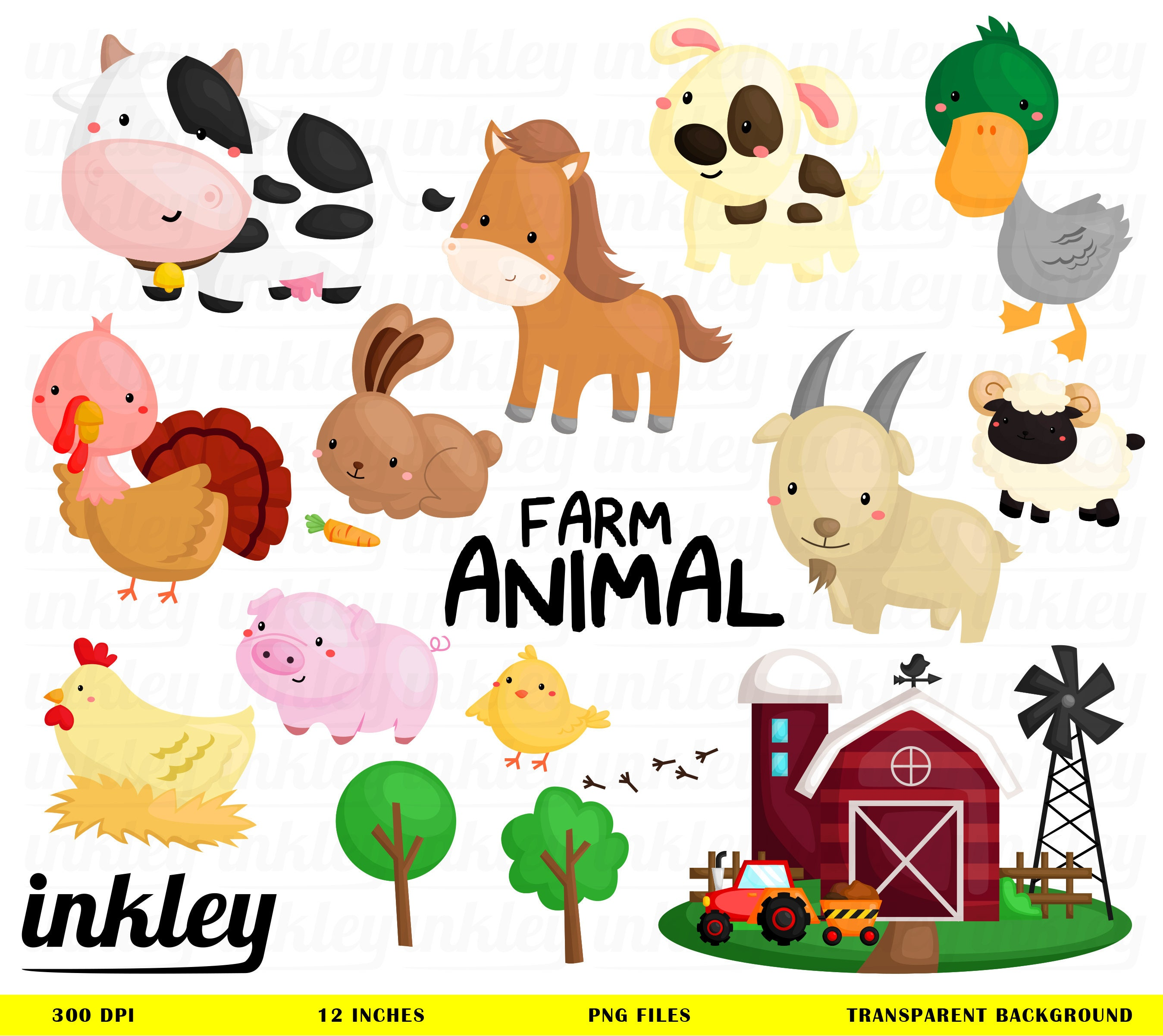 farm animal clipart farm animal clip art farm animal png rh etsy com farm animals clipart ducks farm animals clip art black and white