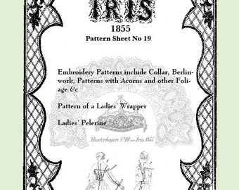 Iris Fashion Pattern 1855, No 19,  full size reprint