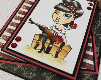 Pirate Wench  -  Handmade Greeting Card